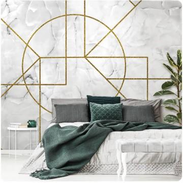 Márványhatású, geometrikus poszter, fehér-arany (többféle méretben) 13722
