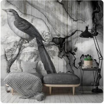 Falhatású poszter madárral, szürke (többféle méretben) 13690