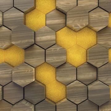 Barna-sárga 3d hatású geometrikus poszter (400x250 cm)