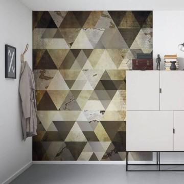 Barna-szürke geometrikus poszter 6025A-VD2 (200x250 cm)