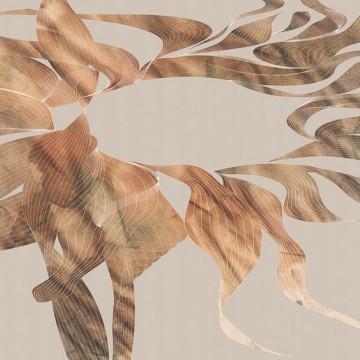 Bézs-barna modern levélmintás poszter 6040A-VD4 (400x250 cm)