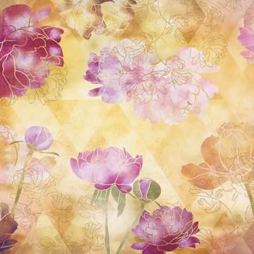 Bézs-rózsaszín virágmintás oszter 6029A-VD4 (400x250 cm)