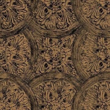 Wll-for arany-fekete virágmintás tapéta 1257501