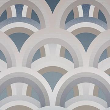 Colorful különleges mintázatú design tapéta, kék és szürke (vlies, 200 x 280 cm)