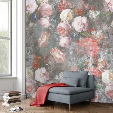 Colorful design tapéta nagy rózsákkal (vlies, 200 x 280 cm)