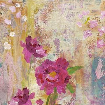 Colorful festmény hatású design tapéta nagy virágokkal (vlies, 200 x 280 cm)