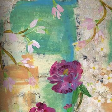 Colorful festmény hatású design tapéta nagy virágokkal, zöld (vlies, 200 x 280 cm)