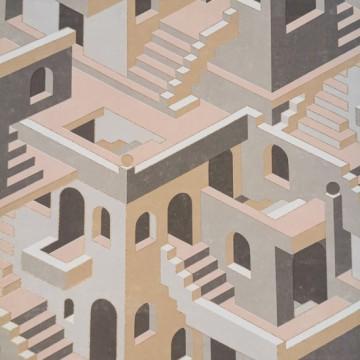 Utopia 1 bézs design tapéta házakkal 85111327