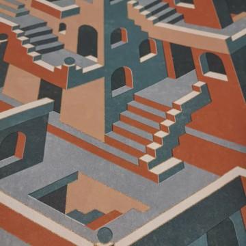 Utopia 1 téglavörös design tapéta házakkal 85113515