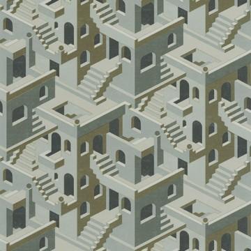 Utopia 1 zöld design tapéta házakkal 85117258