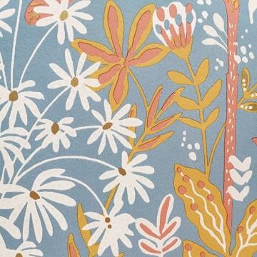 Hygge kék-narancs virágos tapéta