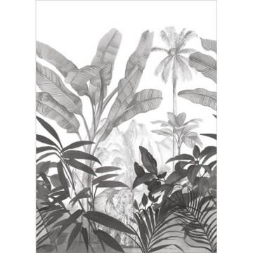 Moonlight fekete-fehér levélmintás posztertapéta (200 x 280 cm)
