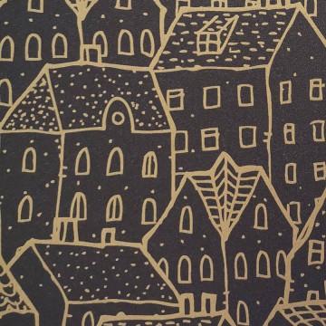 Moonlight fekete-arany tapéta házakkal