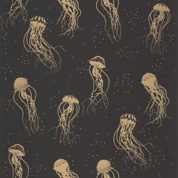 Moonlight fekete-arany mintás tapéta medúzákkal