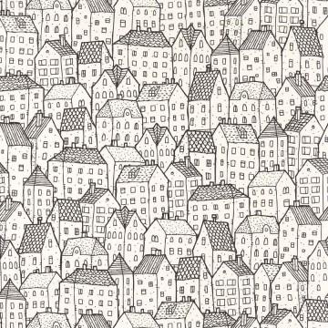 Moonlight fehér-szürke tapéta házakkal