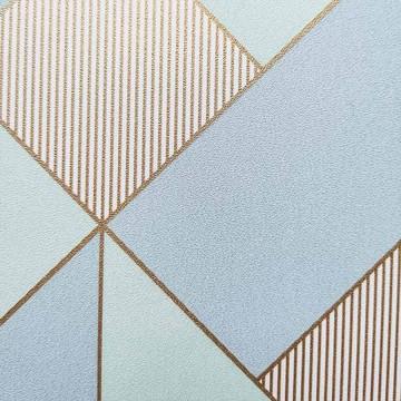 Spaces kék geometrikus tapéta arany csíkokkal