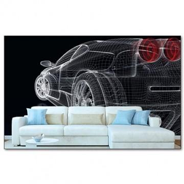 Poszter, autó vázlatrajz, fekete-piros 225x250 cm / 375x250 cm