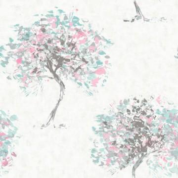 Kaleidoscope szürke tapéta színes fákkal 90652