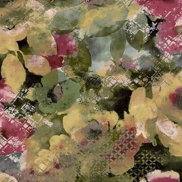 Amazzonia zöld-bordó virágmintás tapéta 22023