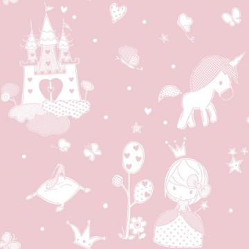Babylandia rózsaszín tapéta királylánnyal, kastéllyal 5462