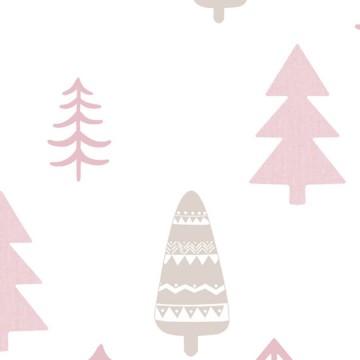 Babylandia rózsaszín tapéta fenyőfa mintával 5464